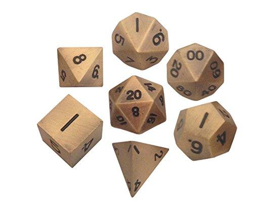 Metal Dice Polyhedral Set of 7 die 7 Antique Gold
