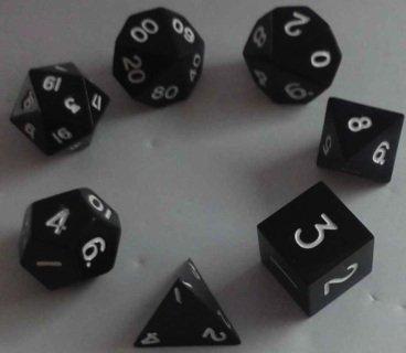 Metal Dice Polyhedral Set of 7 die 7 Black