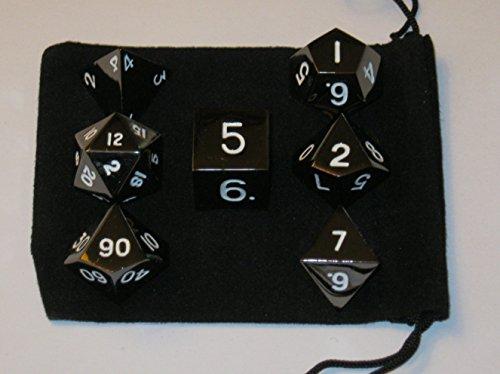 Set of 7 Polyhedral Metal Dice with Bag 16mm Black Color