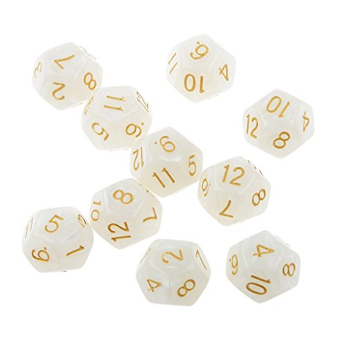 Pack of 10pcs White Twelve Sided D12 Dice Playing D&D Warhammer RPG Board Game Favours