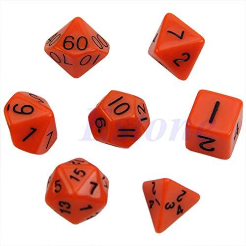 Dsxnklnd 7pcs Muiti Sided Number Die D4 D6 D8 D10 D12 D20 Dungeons&Dragons RPG Poly Dice Games Set
