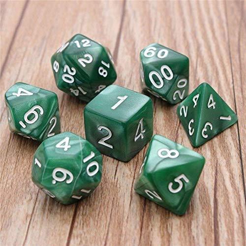 Niome TRPG Games Dragons Dungeons Opaque Multi Sides Dice D4-D20 6 Colors 7Pcs Set Green