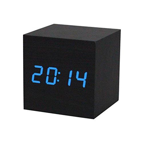 DEESEETM1PC Digital LED Black Wooden Wood Desk Alarm Brown Clock Voice Control Blue