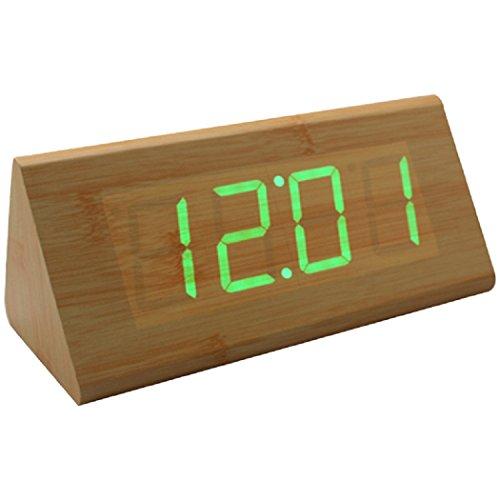 Digital LED Bamboo Wooden Wood Desk Alarm Brown Clock Voice Control Childrens alarm clock bamboo green