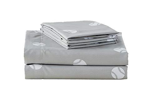 Chezmoi Collection 3-Piece KidsTeens Sports Sheet Set - Soft Microfiber Gray White Baseball Twin Size