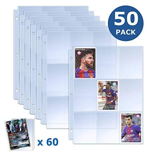 TAOPE Trading Card Sleeves 450 Pockets Baseball Card Sleeves with 60 Pieces Trading Card Holder Collector Card Binder Sheets