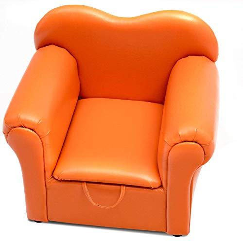 HONEY JOY Kids Sofa PU Leather Upholstered Armrest Sturdy Wood Construction Toddler Chair Orange Sofa with Storage Box