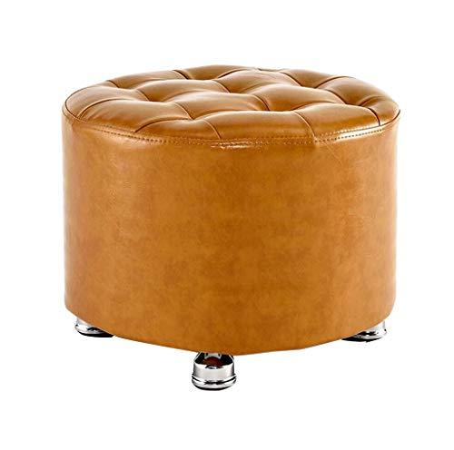 Yzdz Solid Wood Footstool Change Shoes Stool Leather Sofa Dressing Stool Stool Padded Footstool Yellow