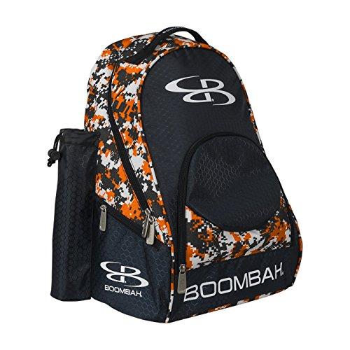 Boombah Tyro Baseball  Softball Bat Backpack - 20 x 15 x 10 - Camo BlackOrange - Holds 2 Bats up to Barrel Size of 2-14