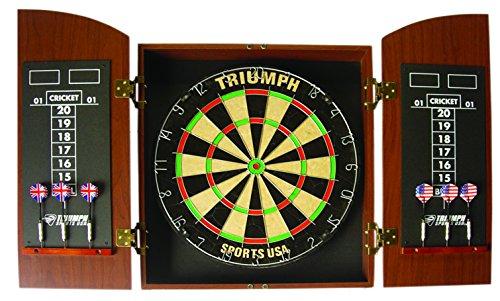 Triumph Sports Round Top Bristle Dartboard Wood Cabinet Set