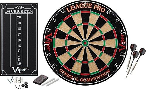 Viper League Pro SisalBristle Steel Tip Dartboard with Staple-Free Bullseye and Cricket Scoreboard Kit