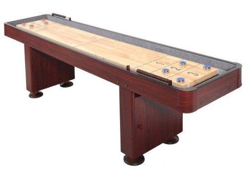 Shuffleboard Table 12 Ft Set Hardwood Block Surface Home Game - Dark Cherry