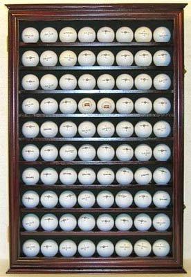 80 Novelty  Souvenir Golf Ball Display Case Holder Cabinet with glass door MAHOGANY Finish