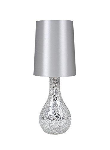 Urban Shop Mosaic Glass Lamp with Satin Shade Silver by Urban Shop