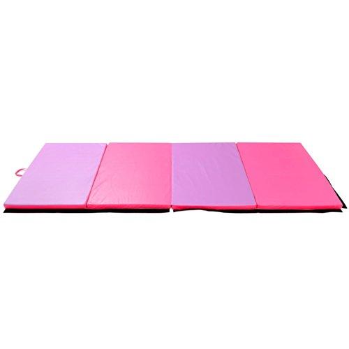 Soozier PU Leather Gymnastics TumblingMartial Arts Folding Mat PinkPurple 4 x 6 x 2