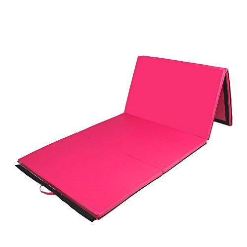 Tenive 4x10x2 Pu Leather Gymnastic Mat Exercise Tumbling Mats Gym Folding Panel Martial Art Mat  Pink