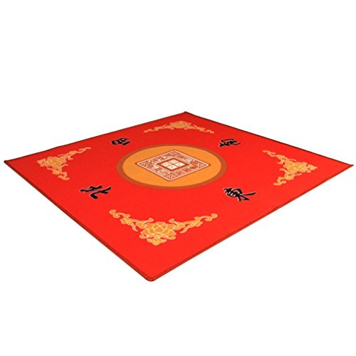 THY COLLECTIBLES Universal Mahjong  Paigow  Card  Game Table Cover - Red Mat 315 x 315 80cm x 80cm