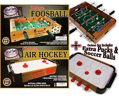Mattys Toy Stop Deluxe Wooden Mini Table Top Air Hockey and Foosball Bundle Gift Set 2-Pack