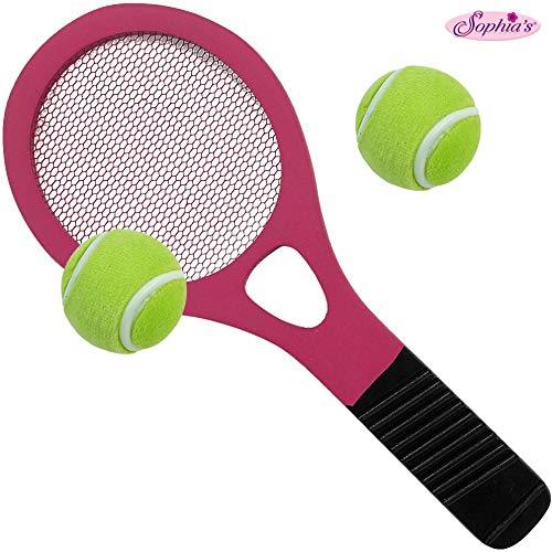 Sophias 18 Inch Doll Accessory Tennis Racket and Balls  Pink Tennis Racket and 2 Tennis Balls Sized for Dolls or Plush Friends