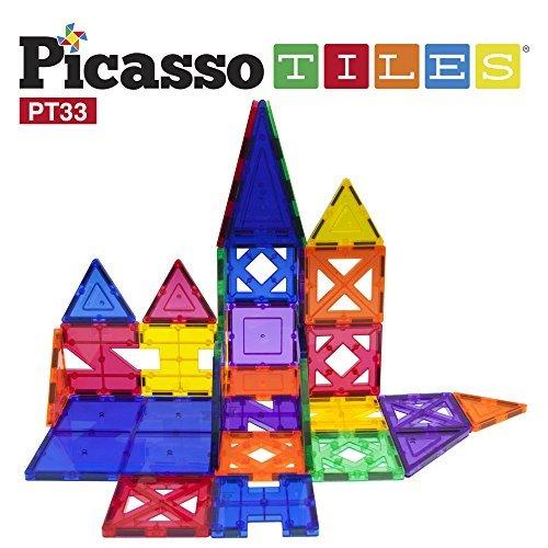 PicassoTiles 33 Piece Building Blocks 33pcs Educational Kit 3D Building Construction Toy Set Clear Magnetic Stacking Block STEM Playboard Magnet Felt Tiles Novelty Game Creativity Beyond Imagination
