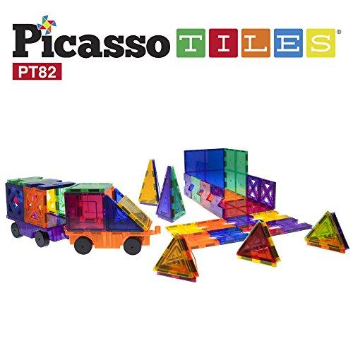 PicassoTiles 82 Piece Building Blocks 82pcs Creativity Kit 3D Building Construction Toy Set Clear Magnetic Stacking Block STEM Playboard Magnet Felt Tiles Novelty Game Creativity Beyond Imagination