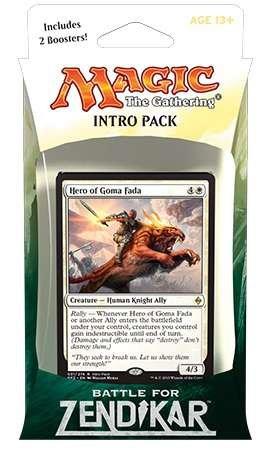 Magic the Gathering MTG Battle for Zendikar Intro Pack  Theme Deck Rallying Cry includes 2 Booster Packs Alternate Art Hero of Goma Fada Premium Rare Promo Card White