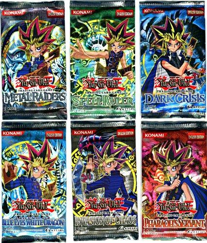YuGiOh Card Game Lot of 6 Booster Packs Legend Blue Eyes White Dragon Metal Raiders Spell Ruler Invasion of Chaos Pharaohs Servant Dark Crisis