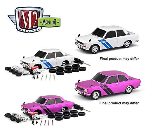 New DIECAST Toys CAR M2 MACHINES 124 Model-KIT - 1970 Datsun 510 Set of 2 47000-07-CASE