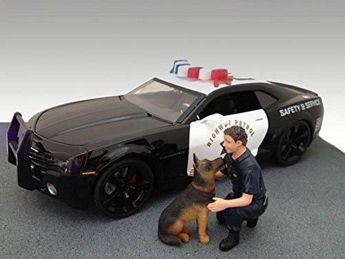 Policeman and Dog K9 Unit II Set of 2 Dark Blue - American Diorama Figurine 23900 - 118 scale
