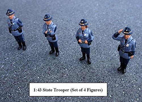 State Trooper Set of 4 Figures Blue - American Diorama Figurine 16200 - 143 scale