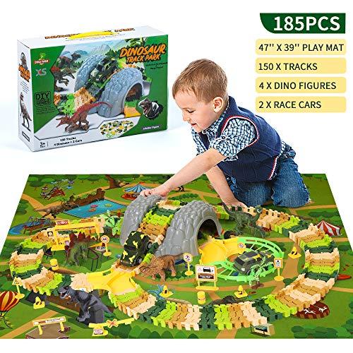 Dinosaur Race Car Track Toys with Play Mat Dina Park 185 PCS Flexible Track Train Play Sets with 4 Dino Figures 2 Car 47 x 39 Play Mat for Boys Kids Birthday