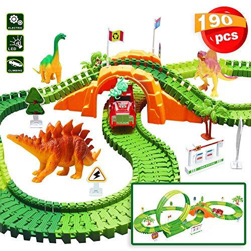 Euclidean Cube 190 Pieces Dinosaur Toys Race Tracks for Boys Girls Kids 360 Degree Stunt Loop 4 Dinosaurs Race Car Track Set