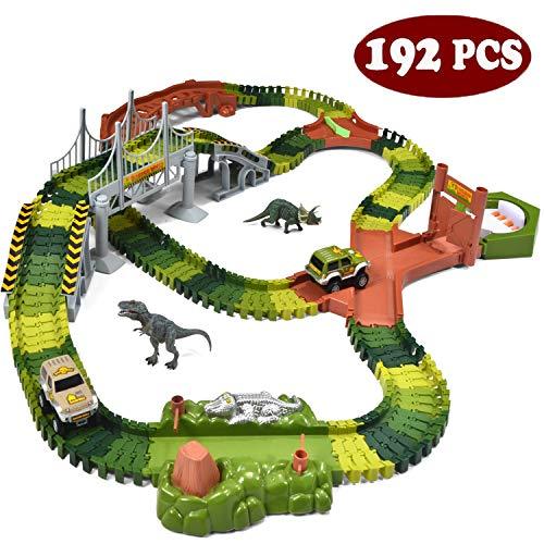 JOYIN Dinosaur 192 Pieces Race Tracks Flexible Train Track Race Car Vehicle Playset with 2 Battery Powered Race Cars and 2 Dinosaur Actions Figures 205 Piece in Total