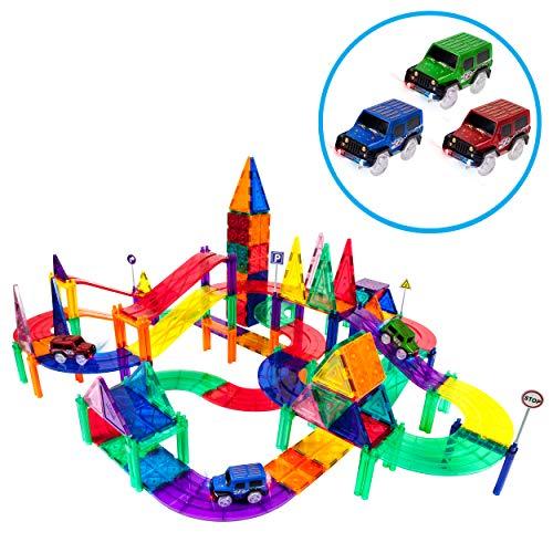 PicassoTiles 128 Piece Race Car Track Building Block Educational Toy Set Magnetic Tiles Magnet Playset 3 LED Car STEM Learning Construction Kit Hand-Eye Fine Motor Skill Training Brain Development