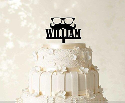 Birthday Cake Topper Custom Cake Topper Monogram Cake Topper Personalized Cake Topper Mustache Cake Topper Mirror Cake Topper