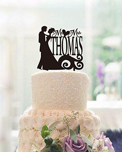 CiCiDi Cake Toppers Custom Name Mr Mrs Thomas Engagement Wedding Party Cake Decorating
