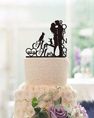 CiCiDi Cake Toppers Mr Mrs Robinson Name Custom Engagement Wedding Party Cake Decorating