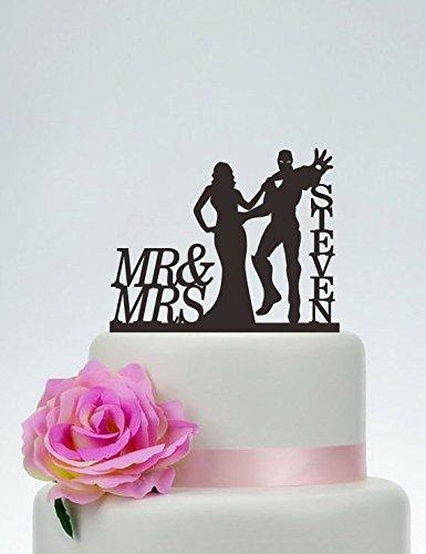 Iron Man Cake Topper Wedding Cake TopperMr and Mrs Cake Topper With last nameSuperhero Cake TopperCustom Cake TopperHero Wedding