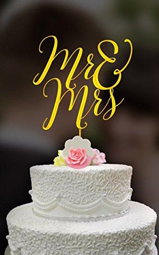 Mr Mrs Wedding Cake Topper  Gold metallic cake topper - Acrylic cake topper - Heirloom quality cake topper Custom Order