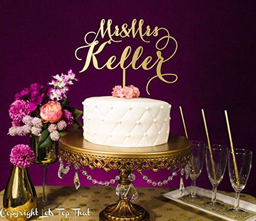 Wedding Cake Topper  Custom Last Name  Gold Silver Glitter Metallic