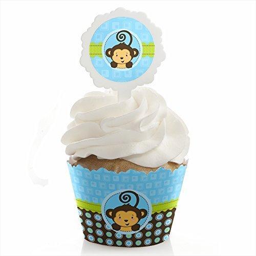 Monkey Boy - Cupcake Wrapper Pick Party Kit - Set of 24