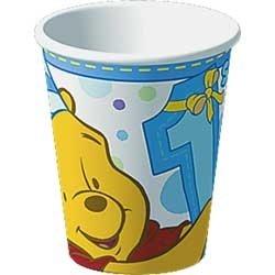 Poohs 1st Birthday Boy Cups 8ct