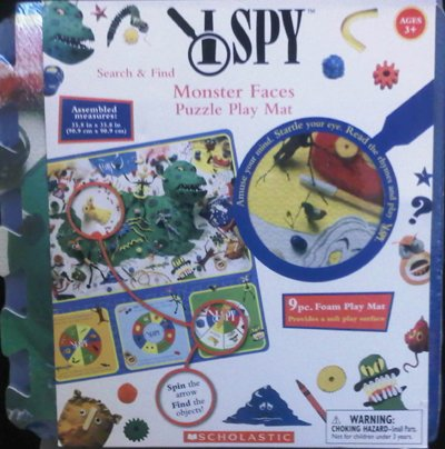 I SPY Search Find Monster Faces Puzzle Play Mat