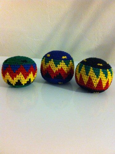 Set of 3 Hacky Sacks Rasta Colors in Assorted Geometric Patterns