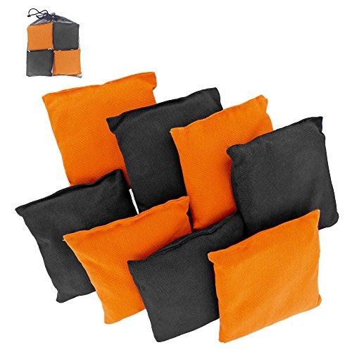 Premium Weather Resistant Duck Cloth Cornhole Bags - Set of 8 Bean Bags for Corn Hole Game - 4 Orange 4 Black
