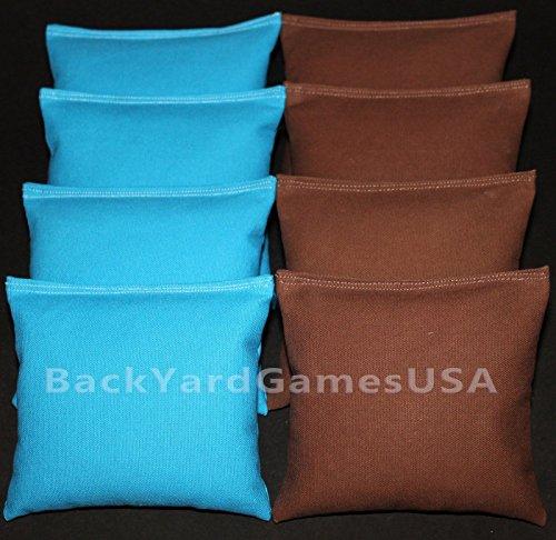 CORNHOLE BEAN BAGS Turquoise Teal Aqua Brown 8 ACA Regulation Corn Hole Bags