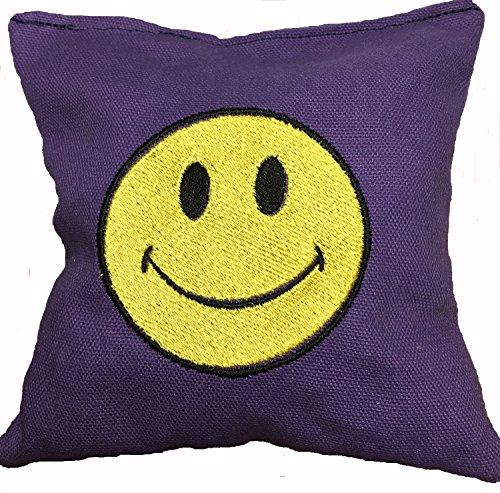 CUSTOM EMBROIDERED ACA REGULATION CORN HOLE BAGS SMILEY FACE PURPLE
