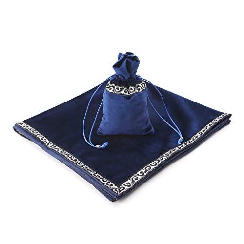 RUZYY Velvet Tarot Tablecloth Divination Altar Tarot Cards Bag Board Game Accessories - Blue