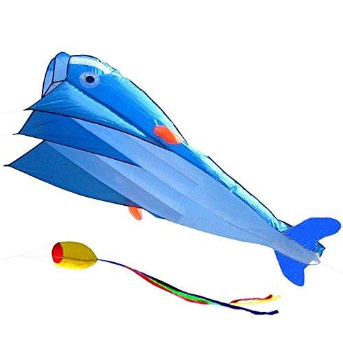 BWinka 3D Kite Huge Frameless Soft Parafoil Giant Blue Dolphin Breeze Beach Kites