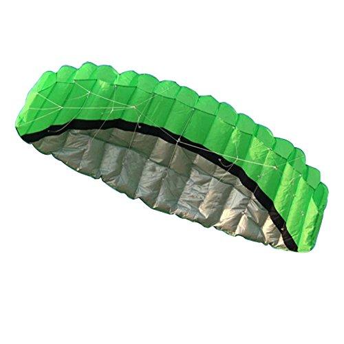 Chinatera 25m Outdoor Toys Dual Line Parafoil Parachute Stunt Sport Beach Kite Green